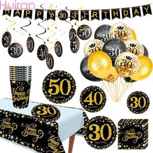 Image 4 - Huian ouro preto balões 30 40 50 anos aplausos para 30 anos balões aniversário 40 anos 50 anos festa decoração suprimentos