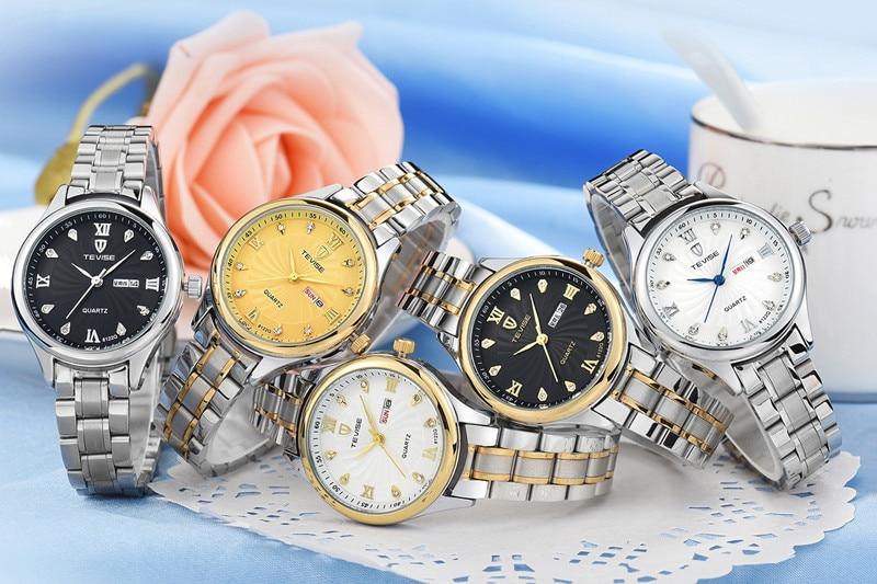 Image 3 - TEVISE Luxury Gold Women Watch Week Day Date Bracelet Watches Ladies Waterproof Fashion Quartz Steel Wrist Watches montre femmemontre fashionmontre femmemontre femme waterproof -