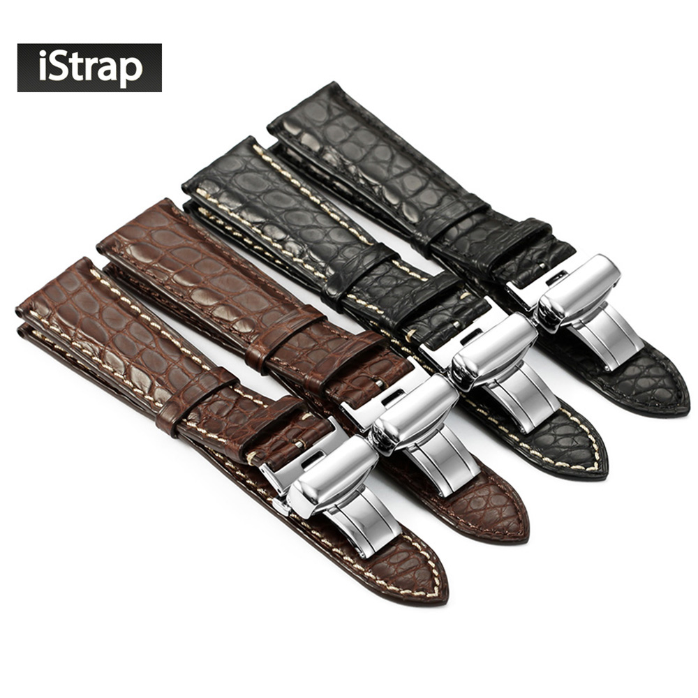 iStrap New Fashion 18mm 19mm 20mm 21mm 22mm Alligator Leather Watchband Black Brown Watch Band Strap Deployment buckle For IWC