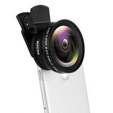 Lente universal para celular com clipe, lente de câmera de 37mm 0.45x 49uv super grande angular + lente macro 12.5x 2 kit profissional da lente da câmera hd em 1,