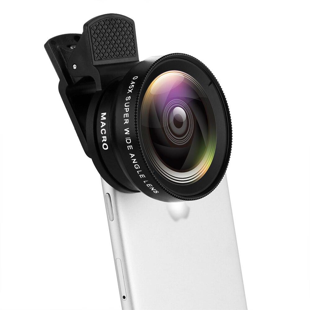 Universal clip-on lente da câmera do telefone celular 37mm 0.45x 49uv super grande angular + 12.5x lente macro 2 in1 kit de lente da câmera hd profissional