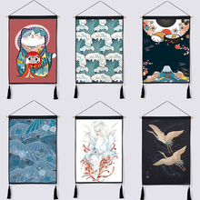Japanese Style Japan Sushi Cherry Kimono Home Decor Wall Hanging Tapestry Cotton Linen Scroll Painting with Tassels