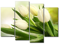 No Framed 4 Panels Beautiful White Tulips Painting Wall Art Picture Print On Canvas High Definition