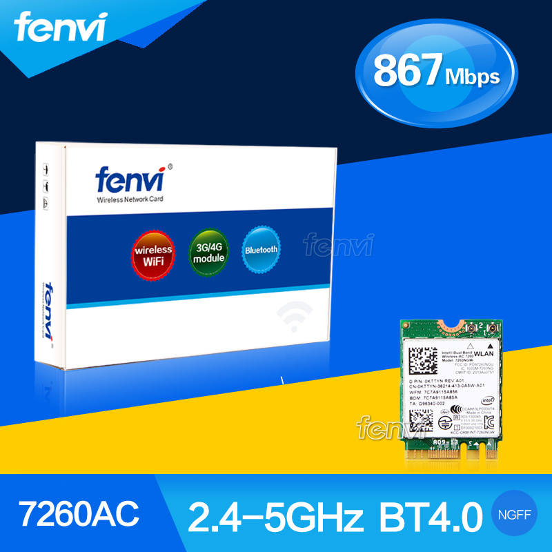 Fenvi Dual Band Wireless Bluetooth Wi-Fi Wlan For Intel Wireless-AC 7260 7260NGW NGFF (M.2) 2x2 802.11ac 867 Mbps WiFi + BT 4.0