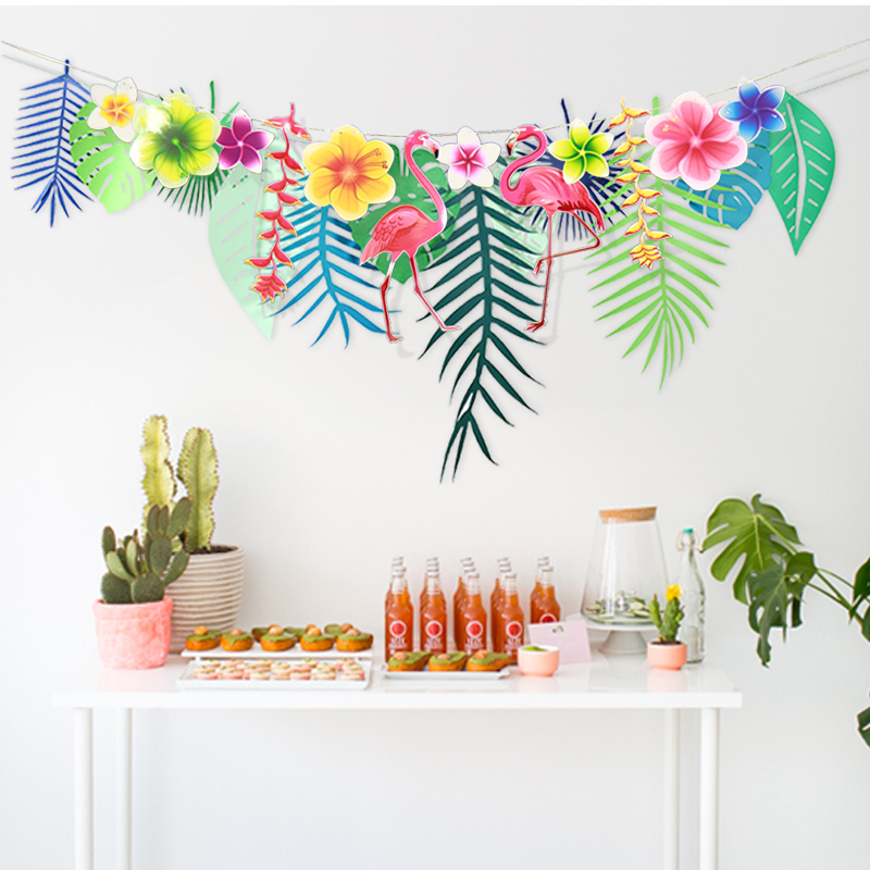 Diy party decor hawaiian tropical flamingo garland leaves for Hawaiin decorations