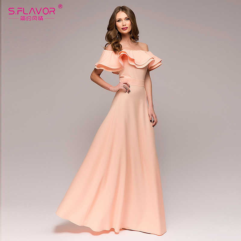 S. вкус с открытыми плечами Для женщин праздничное платье 2018 новые модные с рюшами без рукавов длинное платье элегантный Для женщин пикантные богемные vestidos