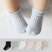 Kids Newborn Baby Socks Cotton Anti Slip Socks For Boys Girls Infant Toddler Solid Color