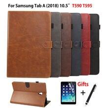 Funda de lujo para tableta Samsung Galaxy Tab A A2 2018, 10,5 pulgadas, T590, T595, T597, SM T595, de cuero PU, con soporte, carcasa + película + bolígrafo