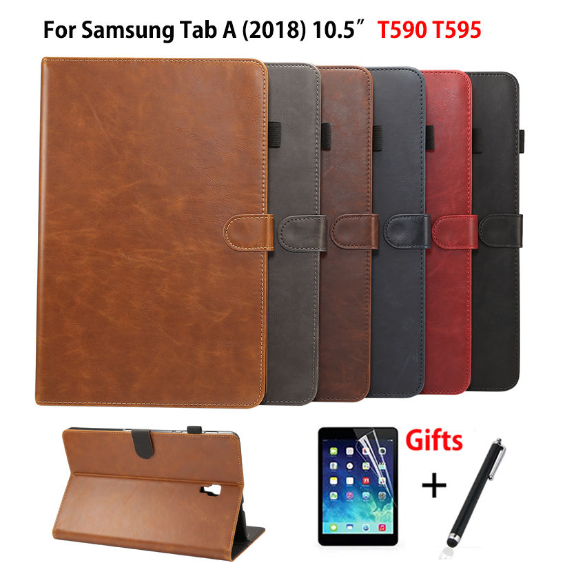 Luxury Case For Samsung Galaxy Tab A A2 2018 10.5 inch T590 T595 T597 SM-T595 Cover Funda Tablet PU Leather Stand Shell+Film+Pen