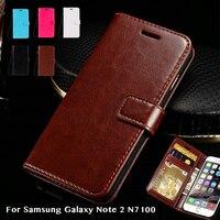 Funda de libro abatible para Samsung Galaxy Note 2 N7100, billetera de negocios, funda trasera de silicona suave de Tpu, Funda de cuero para teléfono