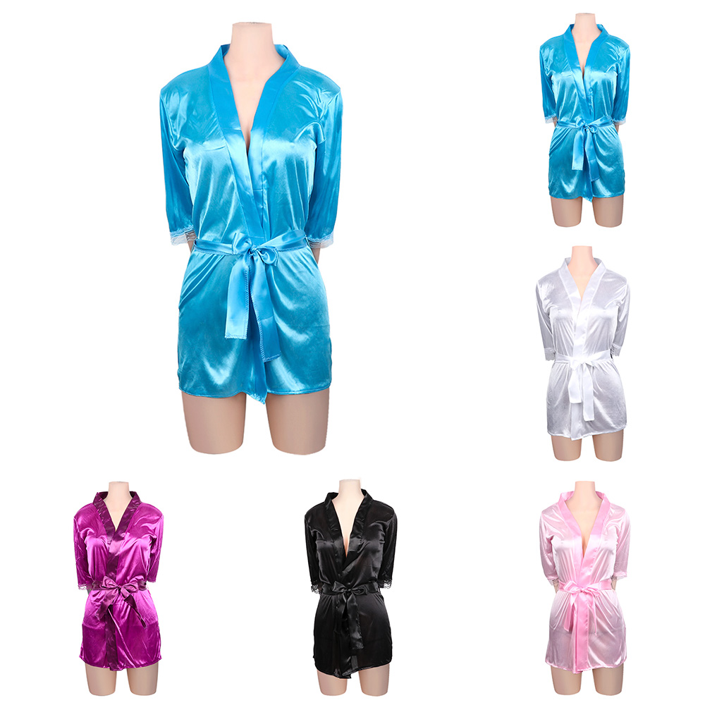 1Pc Lace Robe Sleepwear Womens Deep V-Neck Nightgown Sexy Satin Lingerie Ladies Summer Autumn Nightdress G-string Pajamas