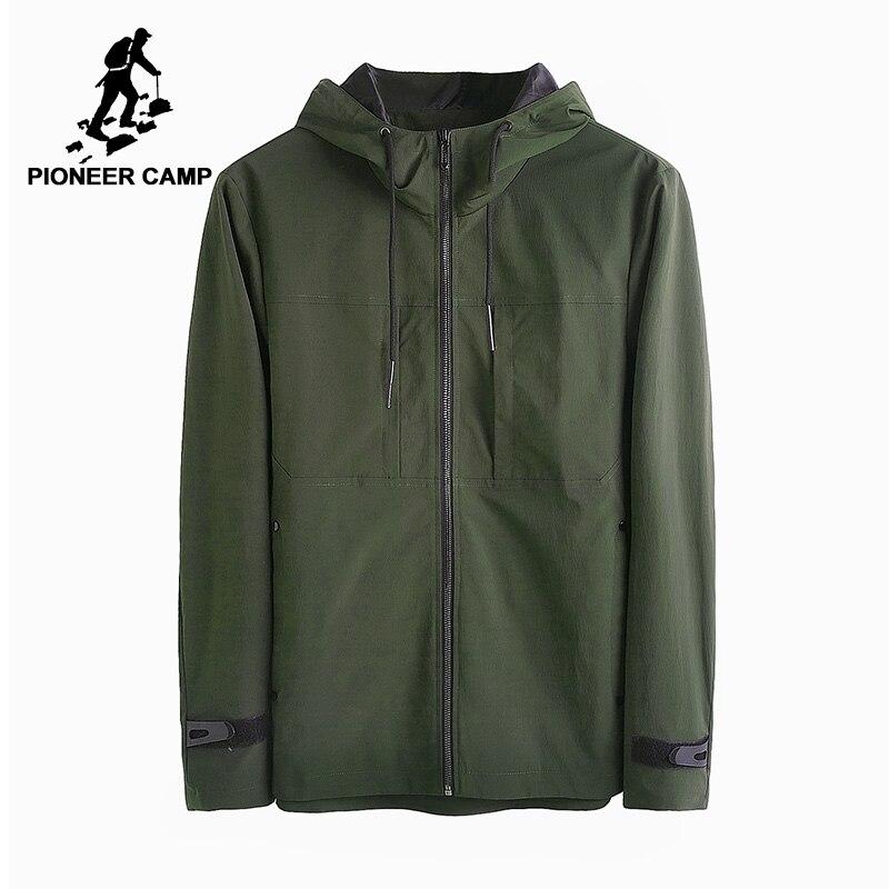Acampamento pioneiro novo outono casaco corta-vento com capuz homens jaqueta de marca-roupas casuais sólida masculino qualidade AJK705135 verde do exército preto