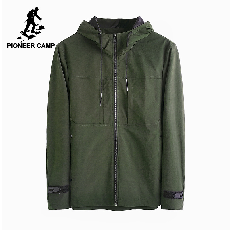 Pioneer Camp new autumn solid hooded jacket men brand-clothing casual windbreaker coat male quality black army green AJK705135