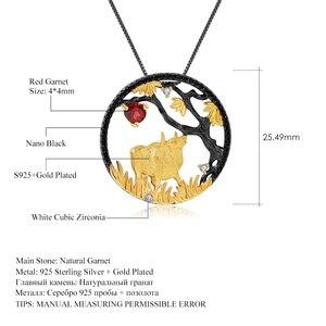 Image 5 - GEMS BALLET Natural granate rojo hecho a mano creativo colgante collar 925 plata esterlina buey paciente Zodiaco joyería para las mujeres