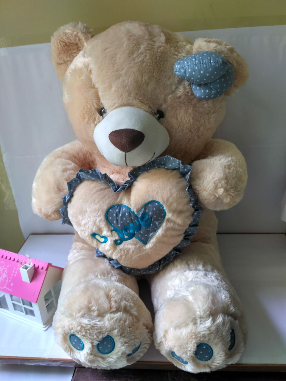 new plush teddy bear toy cute blue heart and bow bear doll gift about 100cm huge lovely plush teddy bear toy with blue heart and bow creative bear doll gift about 120cm