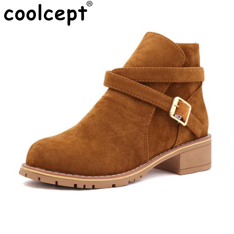 Coolcept Winter Shoes Women Thick Fur Inside Ankle Snow Boots For Women Buckle Strap Med Heel Warm Winter Botas Size 35-39 hot women winter snow ladies low heel ankle belt buckle martin boots shoes kh 39 17mar09