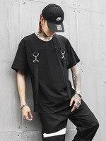 Men Fashion Casual Short Sleeve T shirt Streetwear Hip Hop Punk Male Ribbon Tees Shirts Mens Tshirt