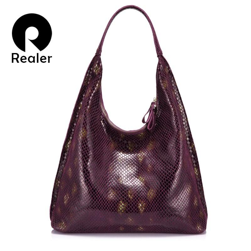 Realer Brand Women Handbag Genuine Leather Woman Shoulder Bag Hobo Large Capacity Serpentine Prints Fashion Zipper Messenger Bag