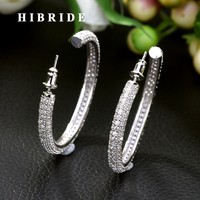 HIBRIDE 2019 New Design Circle Round Red and Blue Cubic Zirconia Crystal White Color Big Hoop Earrings for Women Gift E 453