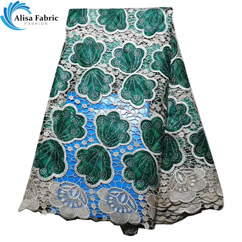 Green African Cord Lace With Prints Wax Fabric Patchwork With Stones Water Soluble Lace Fabrics Nigerian