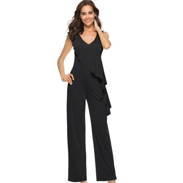 0e516d54 2018 de verano sin mangas de las mujeres mono ropa elegante de pierna ancha  Oficina sexy