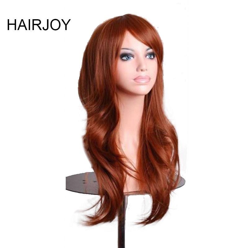 HAIRJOY Kvinnor 70cm Orange Brun Vågigt Hår Syntetisk Kostym Parti Cosplay Full Wig Hög Temperatur Fiber 11 Färger