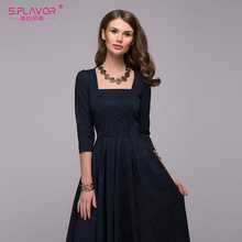 S.FLAVOR Women's Elegant Square collar draped long dress