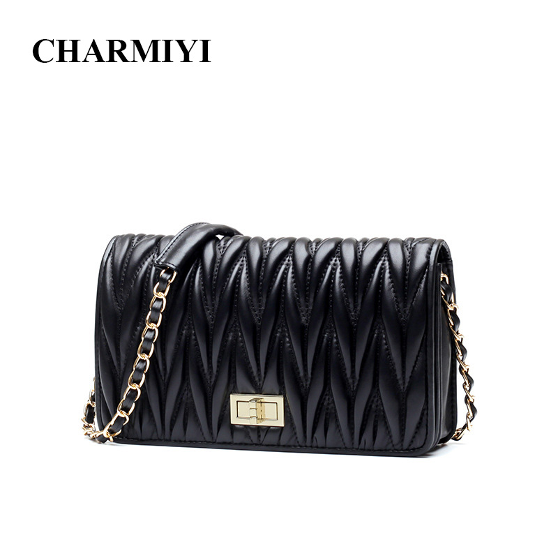 CHARMIYI Brand Fashion Genuine Leather Cover Women Shoulder Messenge Bags Soft Pleated High Quality Chain Female Crossbody BagCHARMIYI Brand Fashion Genuine Leather Cover Women Shoulder Messenge Bags Soft Pleated High Quality Chain Female Crossbody Bag