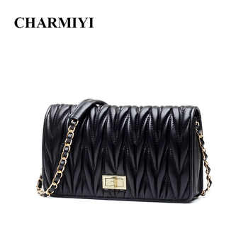 CHARMIYI Brand Fashion Genuine Leather Cover Women Shoulder Messenge Bags Soft Pleated High Quality Chain Female Crossbody Bag - DISCOUNT ITEM  0% OFF All Category