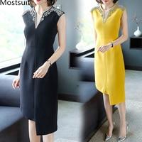 2019 Summer Diamonds Beading V neck Party Sexy Dress Women Black Yellow Short Sleeve Elegant Ladies Slim Vestidos Dresses S 4xl