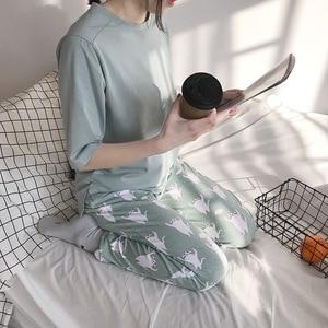 Image 5 - 2019  New Women Pajama Set Soft Cat Cartoon Printing Pijama Home Pyjamas Ladies Cotton Pyjama Set Sleepwear