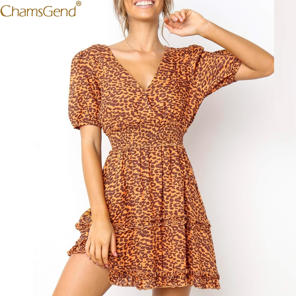 Brown Leopard Splice Print summer dresses women 2019 summer dress girl dresses woman party night Sexy Womens Feb28