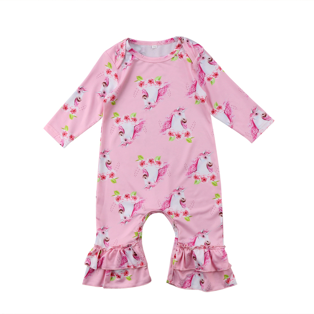 94c4ef9c9633 Newborn Baby Girl Bloom flower Rompers Long Sleeve Romper Baby Girls Ruffle  Jumpsuit Outfits Toddler baby Clothing