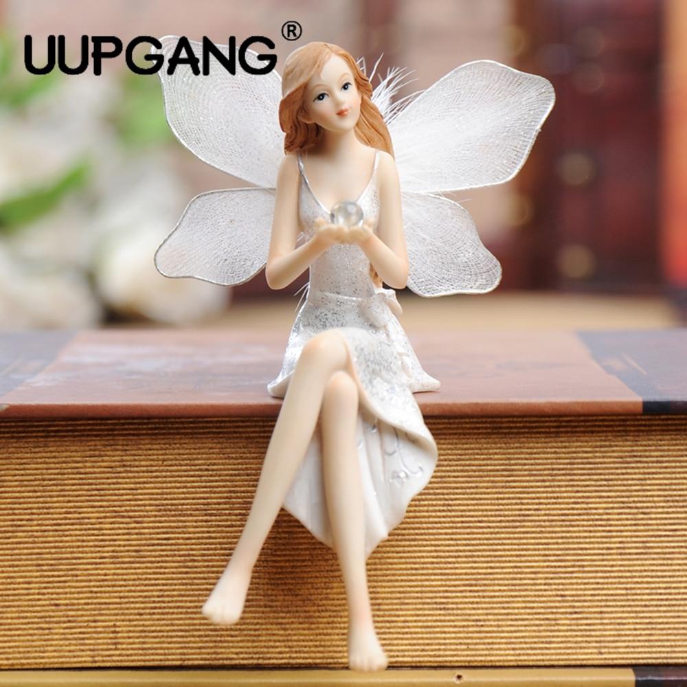 Europe Creative Ornaments Resin Moon Angel Figurine With Wings Home Bedroom Wedding Room Bookshelf Desk Decor Miniatures