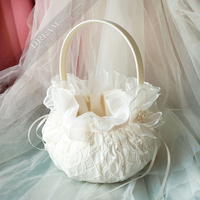Top quality Wedding Decoration Flower Girl Basket Chic Satin Flowers lace pearl Flower Baskets for Wedding Party Decoration