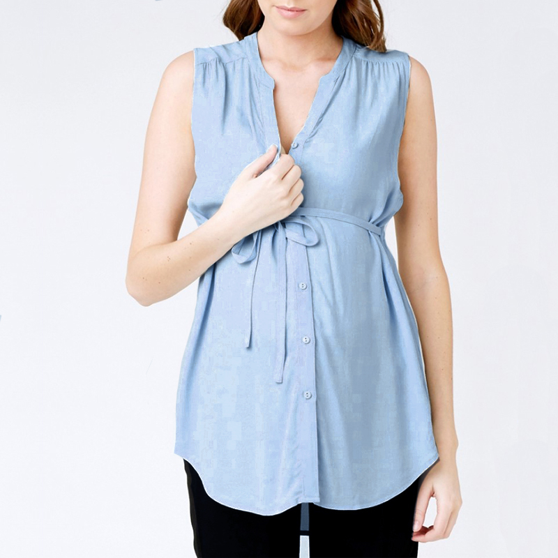 Maternity Clothes 2018 Women Summer Shirts Sexy V Neck Sleeveless Casual Loose Pregnancy Blouses Tops Plus Size Asymmetrical 5XL
