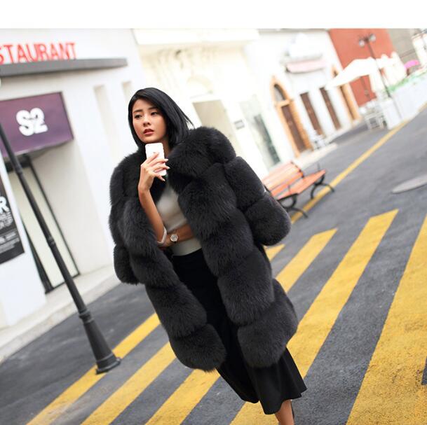 Señoras largo caliente Fox pieles abrigos y chaquetas felpa térmica natural  Fox abrigos de piel ce6d9e5ef50b
