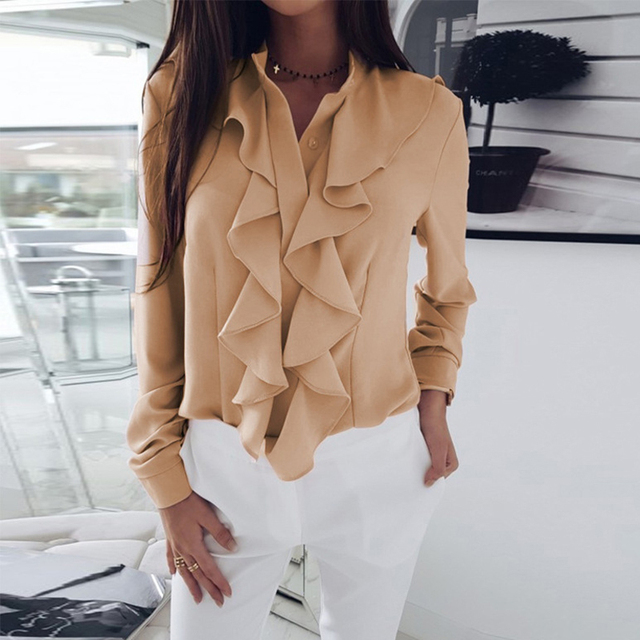 Fanbety Women Sexy V-Neck Ruffles Blouse Shirt Elegant Office lady Solid Chiffon Blouses Summer Long Sleeve Blusa Tops S-XXL