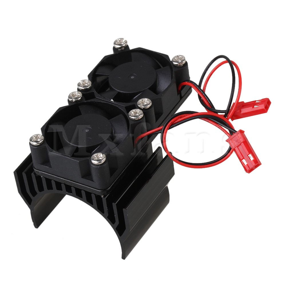 Mxfans Aluminum 540 550 Motor Heatsink N10111 with 2 Fans for RC 1:10 Car Balck Color generic roland scan motor for sj 540 sj 740 fj 540 fj 740 sc 540 printer parts motor