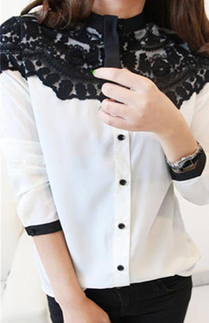 Lace Floral Women Chiffon Shirt Tops Button Down Long Sleeve Loose Ladies Blouses Navy White PY3