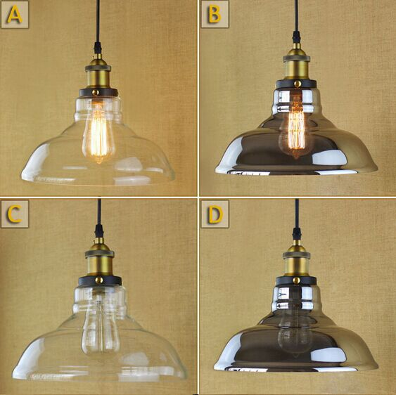 Edison Vintage Industiral Light Pendant Lights With Glass Lampshade in Countryside Loft Style Lamparas Colgantes,E27*1 90V~260V loft vintage edison glass light ceiling lamp cafe dining bar club aisle t300