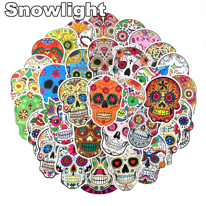 50PCS/Set Colorful Terror Skeleton Stickers For Skateboard Laptop Sticker Luggage Graffiti Interesting Classic Toys Sticker
