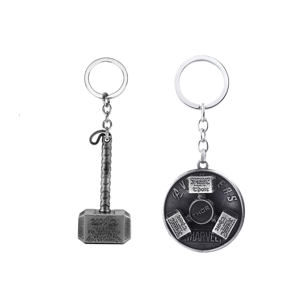 The Avengers Thor Hammer Rotatable Keychain High Quality Metal Movie Jewelry For Men And Women Fans Car Keyring Bag Accessories