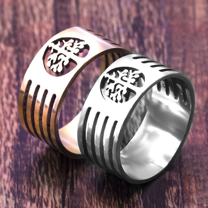 316L Stainless Steel Tree Tree Of Life Ring Hollow Finger Vintage Ring For Men Women Biker Punk Fashion high Quality Jewelry