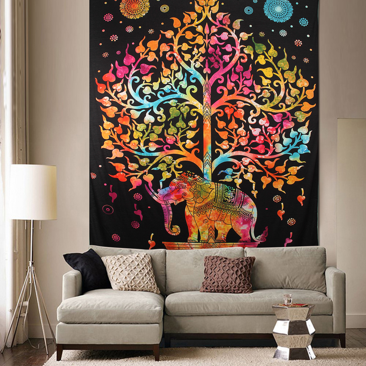 Elephant Mandala Tapestry Throw Towel Hippie Tapestry Floral Printed Home Decor Wall Tapestries Bedspread 210*150CM 27