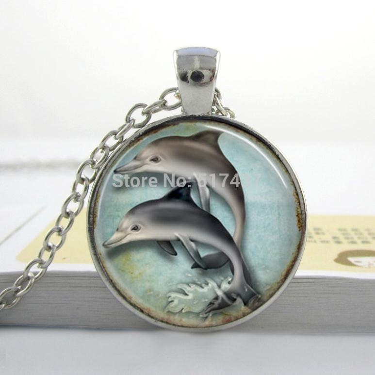 Silver Dolphins Necklace Pendant Nautical Jewelry Porpoise Marine Seaside Ocean-Art-Pendant ...