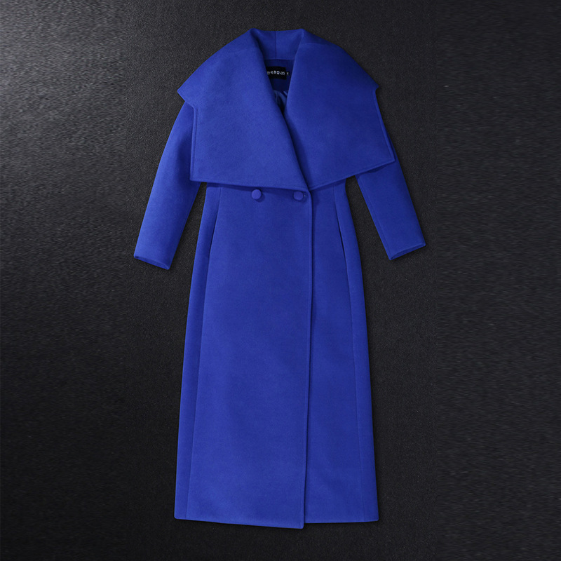 2017 winter Europe and the United States new high-end Slim temperament lapel long section of high-quality woolen coat