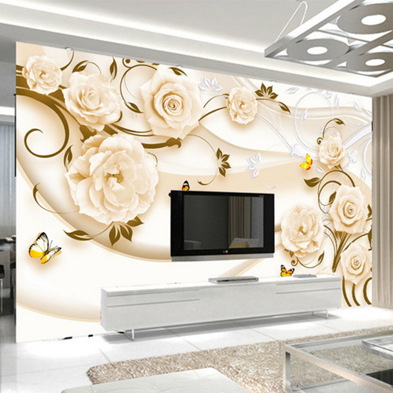 Photo Wallpaper Modern Romantic Rose Flowers Murals Living Room TV Sofa Backdrop Wall Paper Covering Papel De Parede 3D Paisagem modern simple yellow flowers pearl photo wallpaper murals living room backdrop wall paper home decor papel de parede 3d paisagem