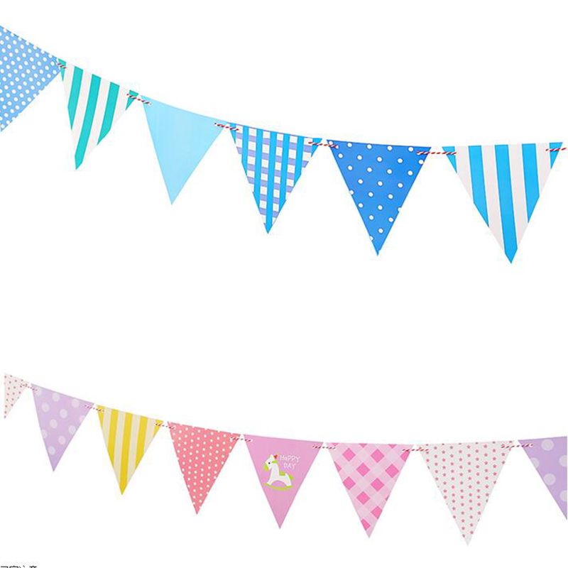 1pcs Blue/Pink Party Bunting Banner Cotton Cloth Baby Shower Birthday ...