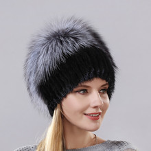 New Style Hot Sale Winter Warm Real Mink Fur Cap For Women Natural Hats Vertical Weaving With Fluffy Fox On The Top